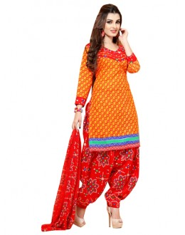 Casual Wear Yellow Un-Stitched Salwar Suit - CC12014