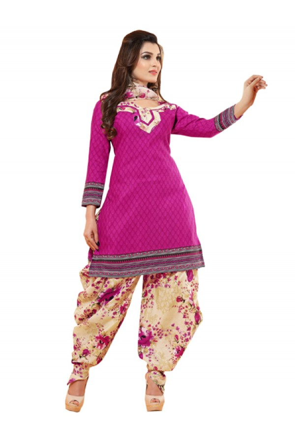 Casual Wear Pink Un-Stitched Salwar Suit - CC12017A