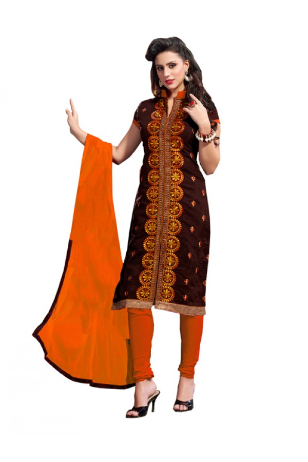 Party Wear Brown Chanderi Cotton Churidar Suit - 2ASG5113A