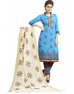 Cotton Jacquard Blue Salwar Suit - 1004A