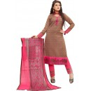 Cotton Jacquard Brown Salwar Suit - 1007B
