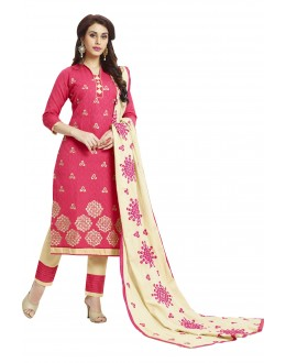 Cotton Jacquard Pink Salwar Suit - 1006A