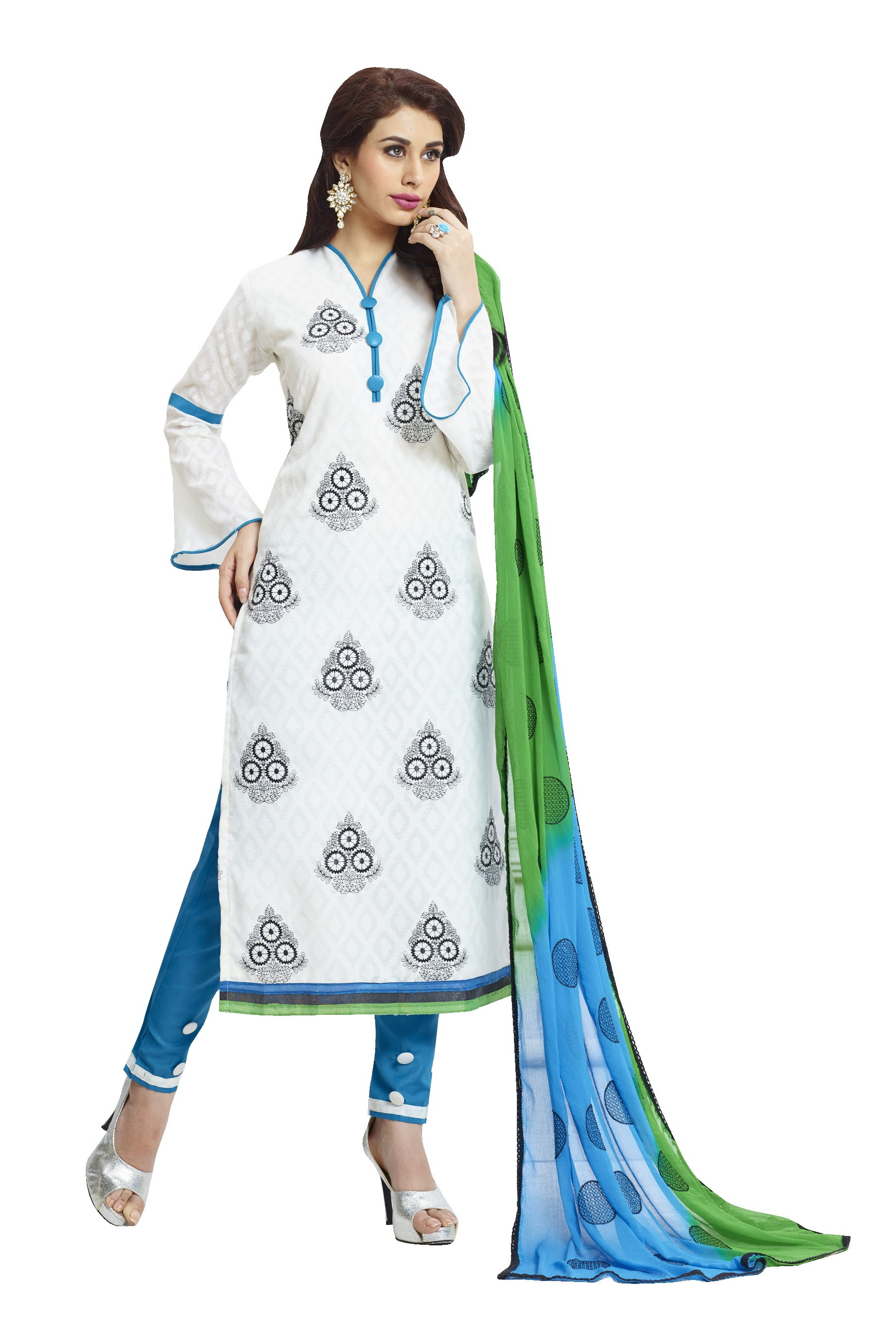 Cotton Jacquard White Salwar Suit - 1001B