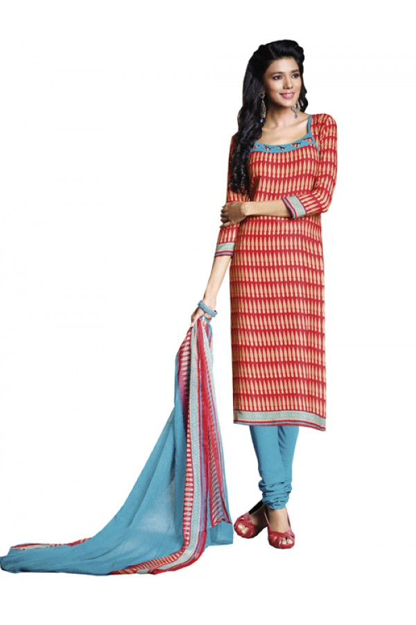 Casual Wear Red Un-Stitched Churidar Suit - DZL1012