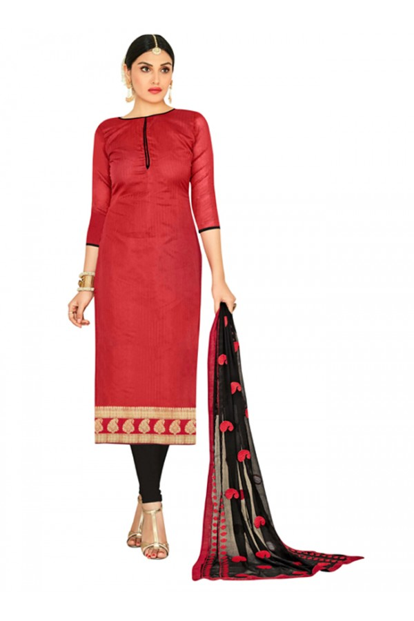 Casual Wear Red & Black Salwar Suit  - FLORAL1002