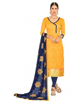 Casual Wear Yellow & Blue Salwar Suit  - FLORAL1007