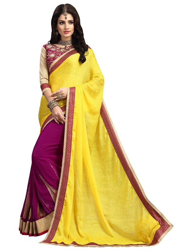 Ethnic Wear Yellow & Pink Saree  - FIRANGI31902