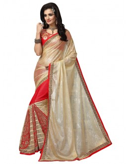 Party Wear White & Red Saree  - FIRANGI31904