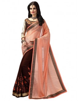 Festival Wear Brown Lycra Saree  - FIRANGI31905