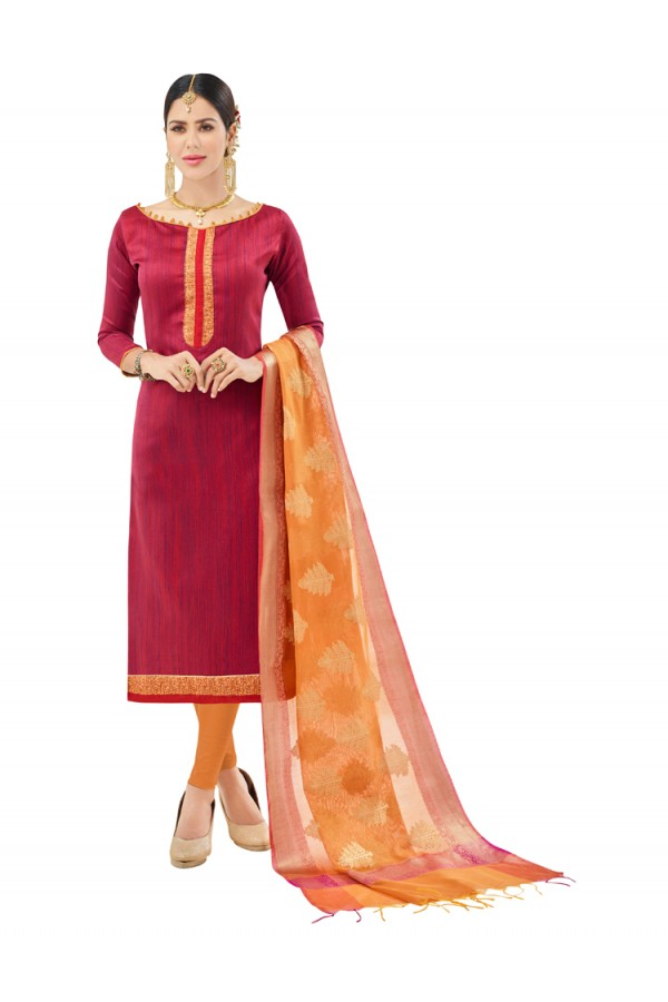Office Wear Red Semi Cotton Salwar Suit  - FLORINA1003