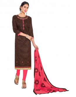 Casual Wear Brown Cotton Salwar Suit  - GEORGIA1007