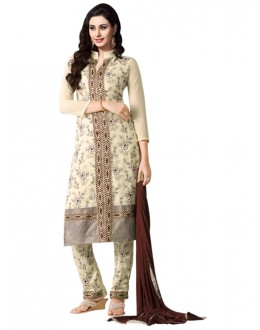 Eid Special Cream Georgette  Churidar Suit - 906