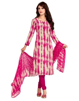 Office Wear Cream & Pink Salwar Suit  - 5021