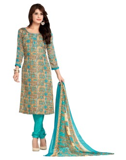 Office Wear Beige & Sky Blue Salwar Suit  - 5026