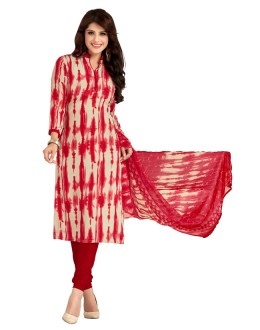 Office Wear Cream & Red Salwar Suit  - 5029