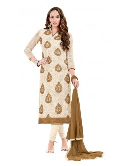 Office Wear Beige & Brown Chanderi Cotton Salwar Suit  - JESSICA3002