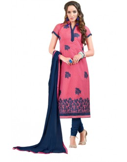 Office Wear Pink & Blue Chanderi Cotton Salwar Suit  - JESSICA3011