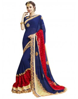 Festival Wear Blue Georgette Saree  - KAYRA 211003