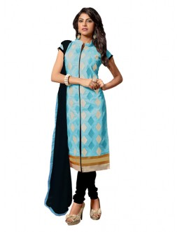 Eid Special Sky Blue Cotton Chanderi Churidar Suit - RSK1006D