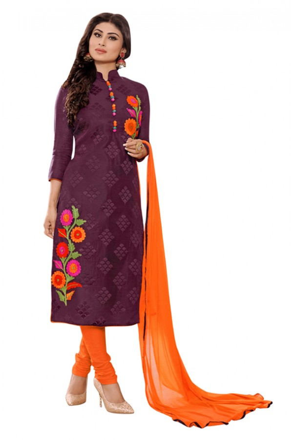 Mouni Roy Office Wear Purple & Orange Churidar Suit - 1006