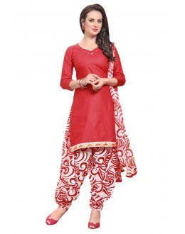 Ethnic Wear Red Polyster Cotton Patiyala Suit  - 4004