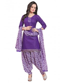 Office Wear Purple Polyster Cotton Patiyala Suit  - 4007