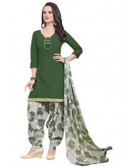 Ethnic Wear Green Polyster Cotton Patiyala Suit  - 4011