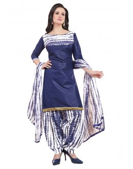 Office Wear Blue Polyster Cotton Patiyala Suit  - 4014