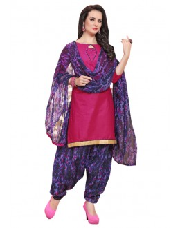 Office Wear Pink Polyster Cotton Patiyala Suit  - 4015