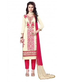 Festival Wear Cream Glaze Cotton Salwar Suit - PAVITRA QUEEN 21503