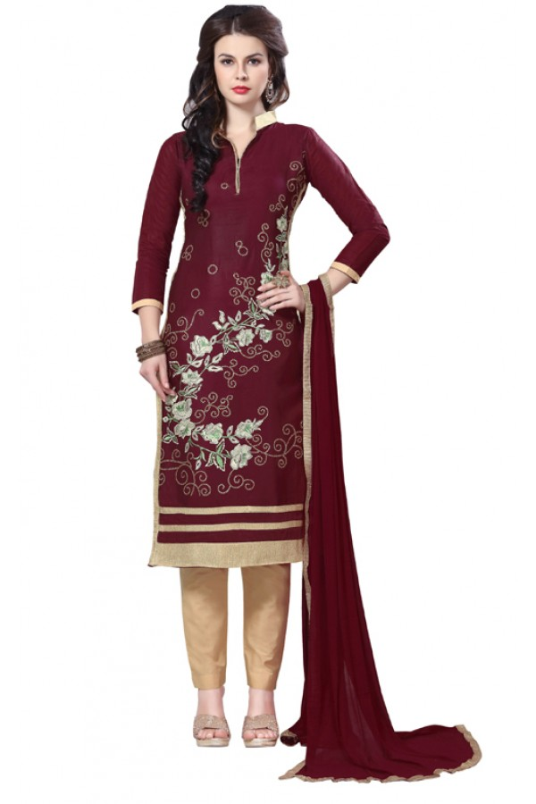 Office Wear Maroon Glaze Cotton Salwar Suit - PAVITRA QUEEN 21505