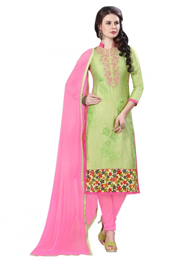 Office Wear Green Glaze Cotton Salwar Suit - PAVITRA QUEEN 21508