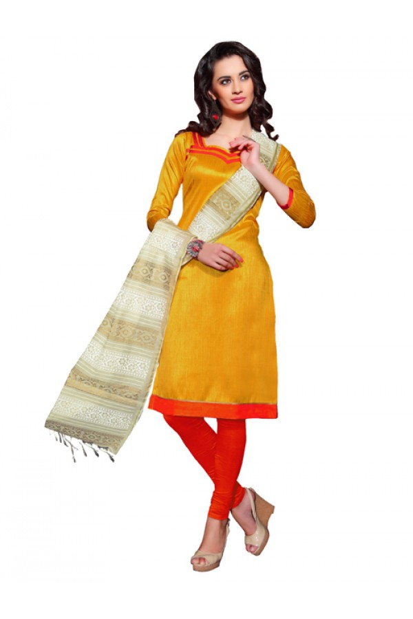 Party Wear Yellow Banglori Un-StitchedChuridar Suit -  PVT1002