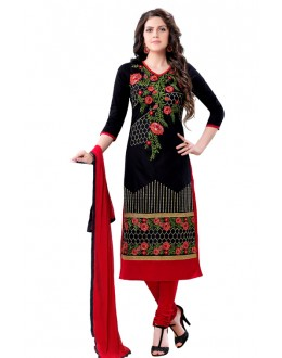 Party Wear Black & Red Salwar Suit  - QUEEN1354