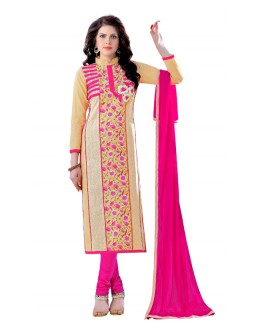 Ethnic Wear Beige & Pink Churidar Suit  - QUEEN1355
