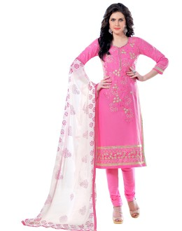 Casual Wear Pink & White Churidar Suit  - QUEEN1359