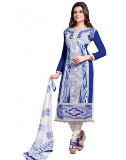 Office Wear Blue & White Churidar Suit  - QUEEN1362