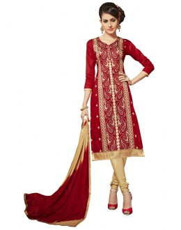 Ethnic Wear Red Glace Cotton Salwar Suit  - QUEEN 52110