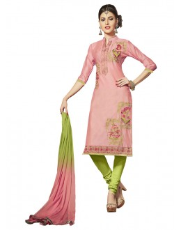 Office Wear Pink Glace Cotton Salwar Suit  - QUEEN 52112