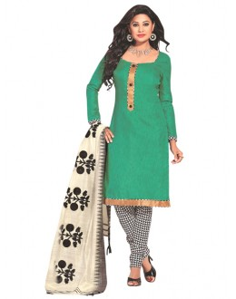 Party Wear Green Un-Stitched Churidar Suit - RMZM1601