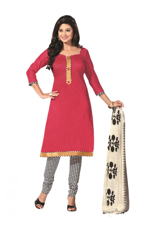 Party WearPink Un-Stitched Churidar Suit - RMZM1602