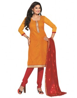 Party Wear Dark Yellow Un-Stitched Churidar Suit - RMZM1607