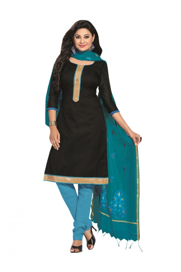 Party Wear Black Un-Stitched Churidar Suit - RMZM1608