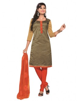 Party Wear Beige Un-Stitched Churidar Suit - RMZM1613