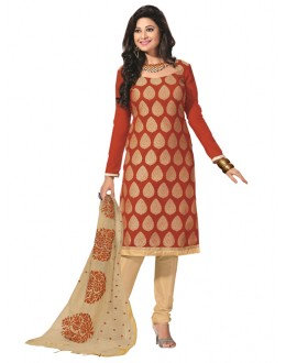Party Wear Dark Orange Un-Stitched Churidar Suit - RMZM1616