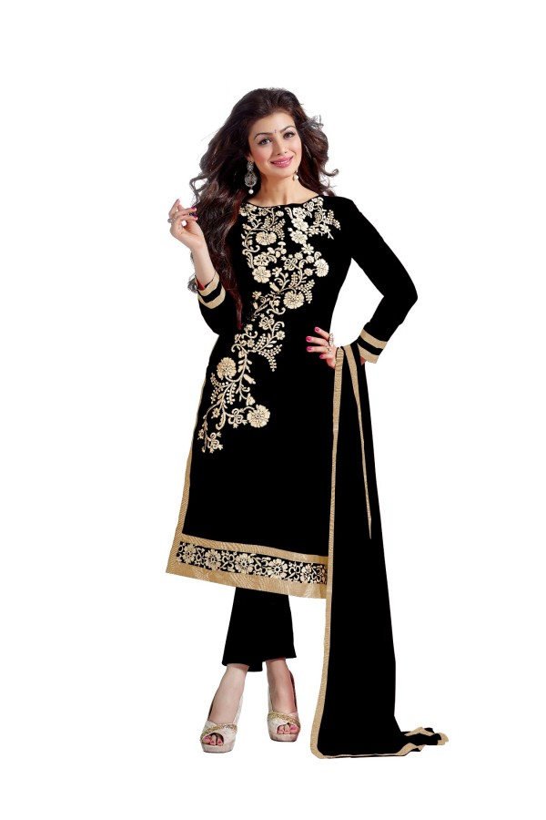 Chanderi Cotton Black Churidar Suit - DREAM GIRL5307C