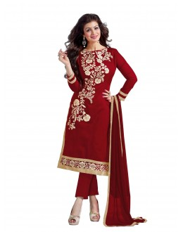 Chanderi Cotton Maroon Churidar Suit - DREAM GIRL5307E