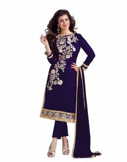 Chanderi Cotton Navy Blue Churidar Suit - DREAM GIRL5307G
