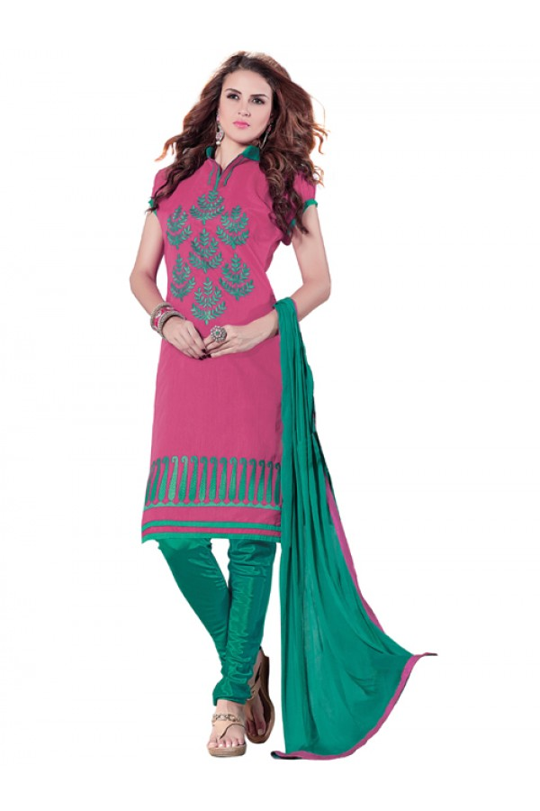 Casual Wear  Pink Chanderi Cotton Un-Stitched Churidar Suit - 5604