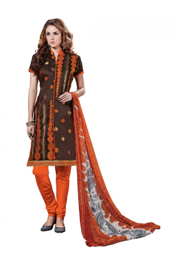 Casual Wear  Brown Chanderi Cotton Un-Stitched Churidar Suit - 5607